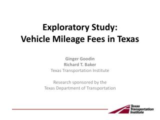 Exploratory Study:   Vehicle Mileage Fees in Texas