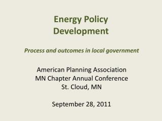Energy Policy Development