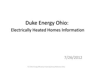 Duke Energy Ohio: Electrically Heated Homes Information