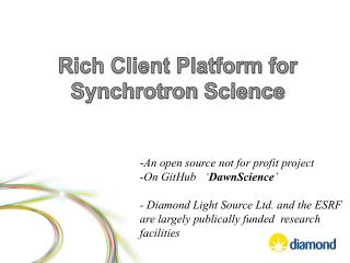 Rich Client Platform for Synchrotron  Science