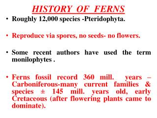 HISTORY  OF  FERNS R oughly  12,000 species  - Pteridophyta . R eproduce  via spores , no  seeds -  no flowers .