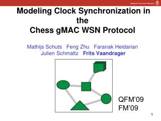 Modeling Clock Synchronization in the  Chess  gMAC  WSN Protocol Mathijs Schuts Feng  Zhu    Faranak Heidarian Julien