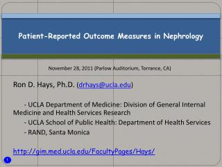 Patient-Reported Outcome Measures in Nephrology