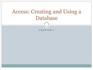 access: creating and using a database