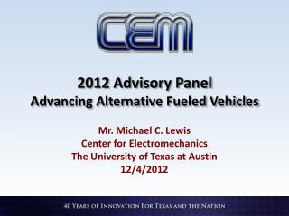 2012 Advisory Panel Advancing Alternative Fueled Vehicles
