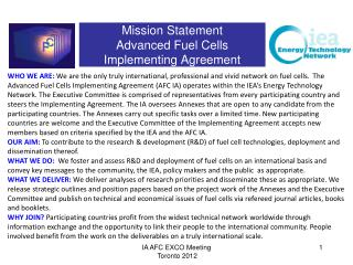 Mission Statement Advanced Fuel  Cells Implementing Agreement