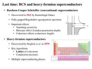 Last time: BCS and heavy-fermion superconductors