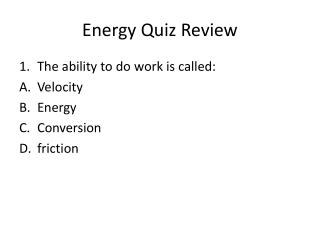 Energy Quiz Review