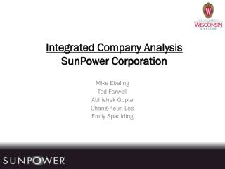 Integrated Company Analysis SunPower Corporation