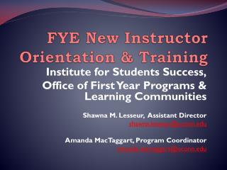 FYE New Instructor Orientation & Training