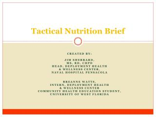 Tactical Nutrition Brief