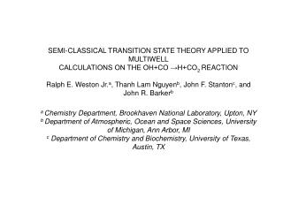 SEMI-CLASSICAL TRANSITION STATE THEORY APPLIED TO MULTIWELL CALCULATIONS ON THE OH+CO →H+CO 2  REACTION