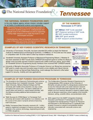 BY THE NUMBERS Tennessee in FY  2012 $71  Million:  NSF funds awarded  22 nd :  National ranking in NSF funds  25:  NSF