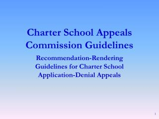 charter school appeals commission guidelines