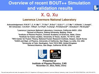 X. Q. Xu Lawrence Livermore National Laboratory