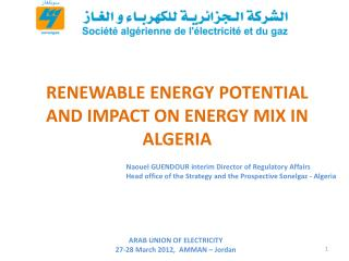 RENEWABLE ENERGY POTENTIAL  AND IMPACT ON ENERGY MIX IN ALGERIA