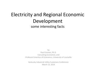 Electricity and Regional Economic Development some interesting facts