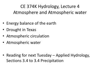 CE 374K Hydrology, Lecture  4 Atmosphere and Atmospheric water