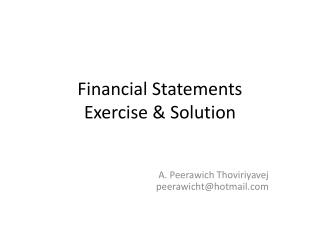 Financial Statements Exercise & Solution