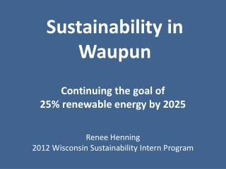 Sustainability in Waupun