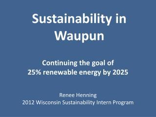 Sustainability in Waupun