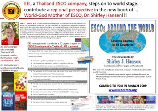 EEI , a  Thailand ESCO company , steps on to world stage…  contribute a  regional perspective  in the new book of …