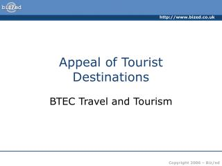 appeal of tourist destinations