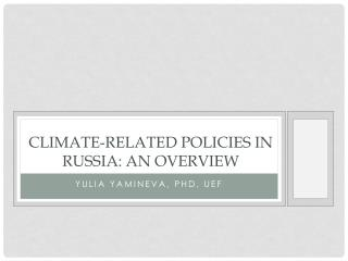 Climate-related policies in  russia : an overview
