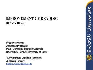 IMPROVEMENT OF READING RDNG 0122