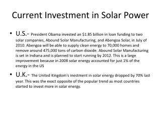 Current Investment in Solar Power