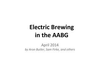 Electric Brewing  in the AABG