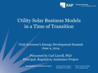 Utility Solar Business Models in a Time of Transition