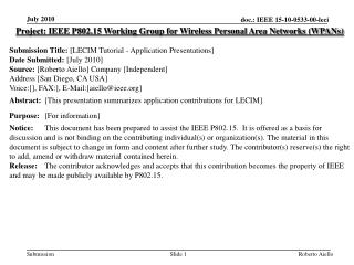 Project: IEEE P802.15 Working Group for Wireless Personal Area Networks (WPANs) Submission  Title: [LECIM Tutorial - Ap
