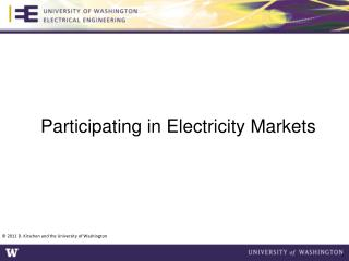Participating in Electricity  Markets