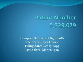 Patent Number 5,729,079