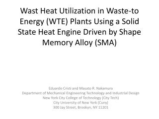 Wast  Heat Utilization in Waste-to Energy (WTE) Plants Using a Solid State Heat Engine Driven by Shape Memory Alloy (SM