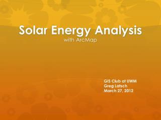 Solar Energy Analysis