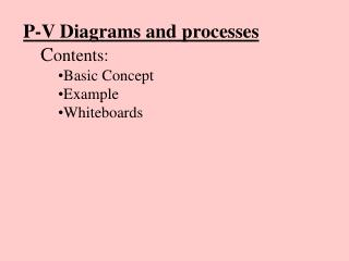P-V Diagrams and processes C ontents: Basic Concept Example Whiteboards