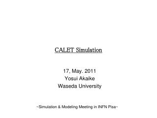 CALET Simulation