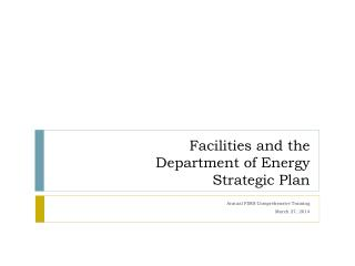 Facilities and the Department of Energy  Strategic Plan