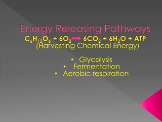 Energy Releasing Pathways C 6 H 12 O 6  + 6O 2       6CO 2  + 6H 2 O + ATP