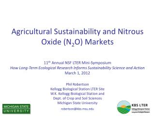 Agricultural Sustainability and Nitrous Oxide (N 2 O) Markets
