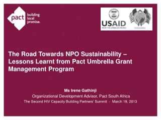 The Road Towards NPO Sustainability – Lessons Learnt from Pact Umbrella Grant Management Program