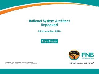 Rational System Architect Unpacked 24 November 2010