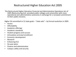 Restructured Higher Education Act 2005