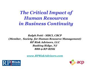 The  Critical Impact of  Human  Resources  in Business Continuity