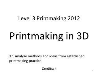 Level 3 Printmaking 2012 Printmaking  in  3D