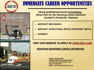 IMMEDIATE CAREER OPPORTUNITIES