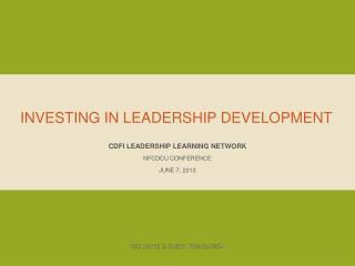 Investing in leadership development