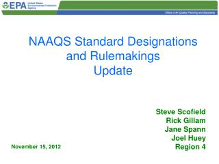 NAAQS Standard Designations and Rulemakings  Update